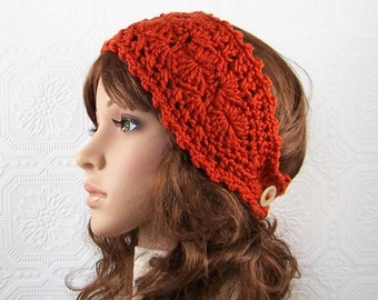 Crochet headband, boho headwrap, ear warmer - burnt pumpkin - women's winter accessories handmade by Sandy Coastal Designs made to order