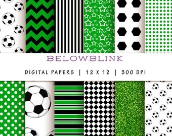 Soccer Ball Digital Paper Pack, Scrapbook Papers, 12 jpg files 12 x 12 - Instant Download - DP176