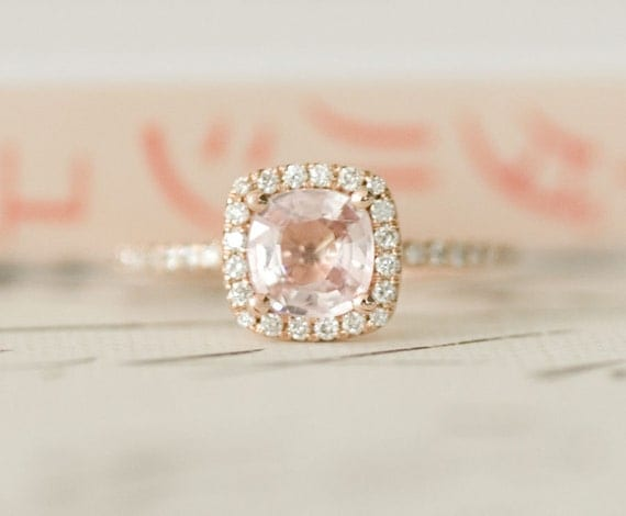 Certified Peach Pink Cushion Sapphire Diamond Halo Engagement Ring 14K Rose Gold - Labor Day SALE