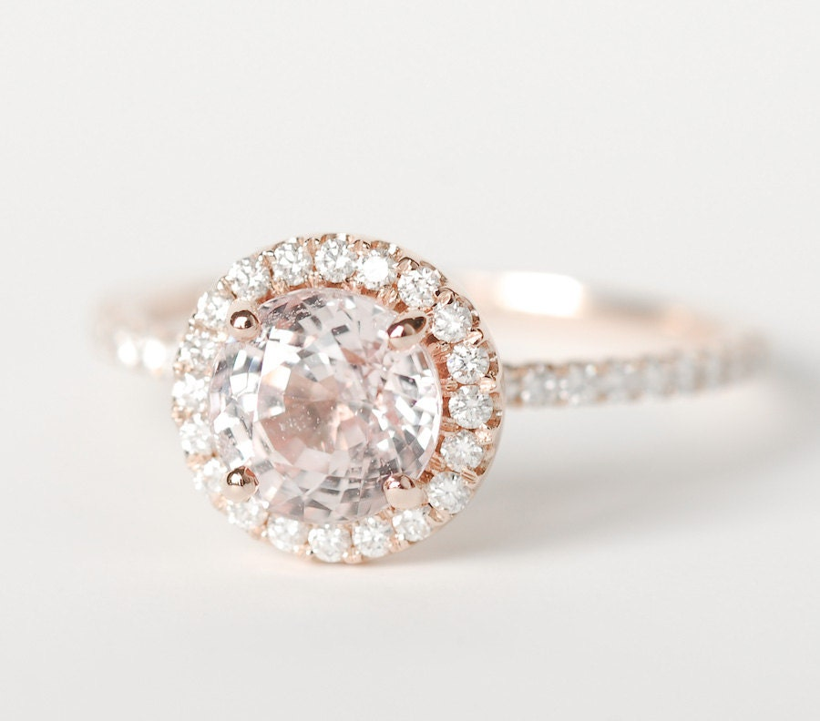 Certified Peach Pink Round Sapphire Diamond Halo By