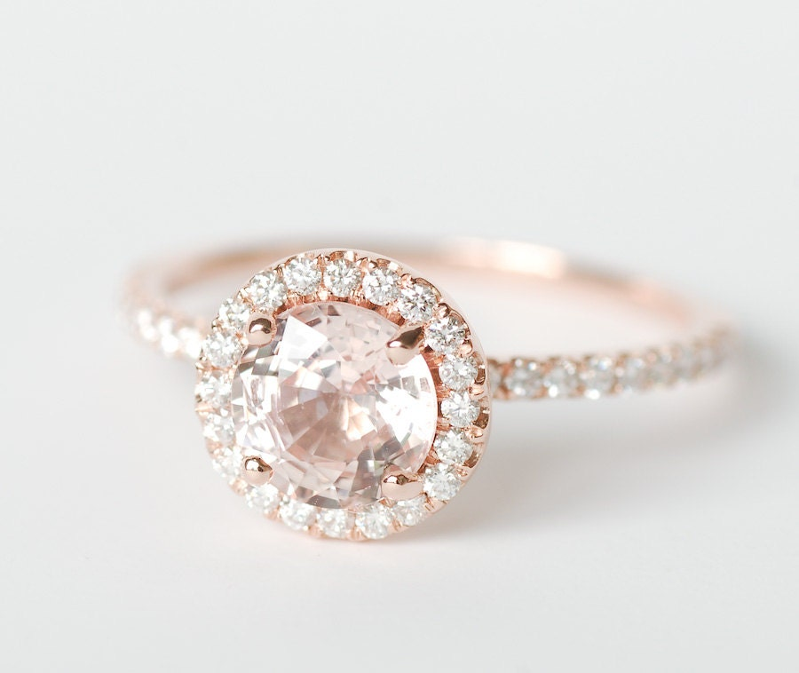 Certified Peach Pink Champagne Round Sapphire Diamond Halo