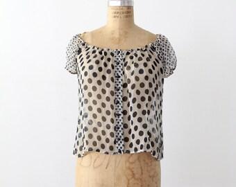FREE SHIP  polka dot blouse, vintage sheer top