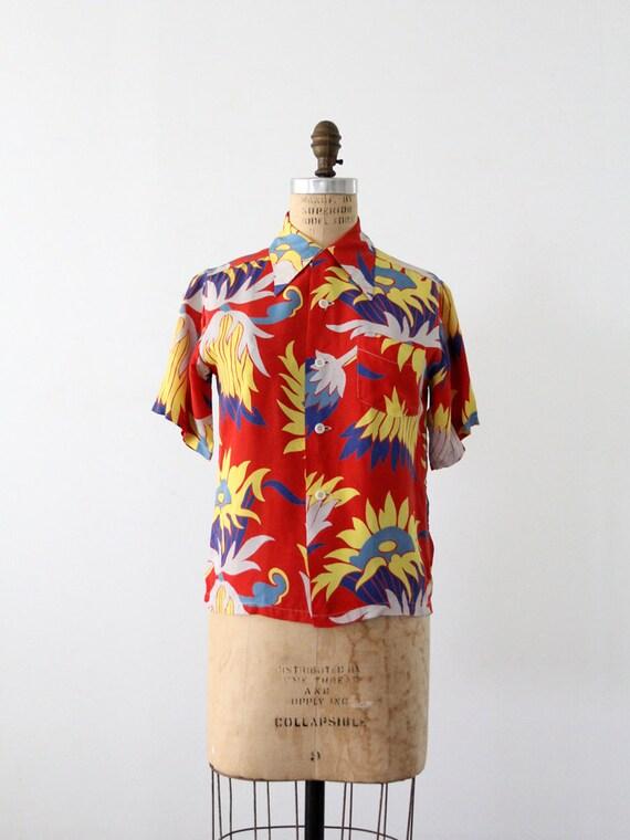 1940s Hawaiian Shirt / Vintage Made in California Shirt