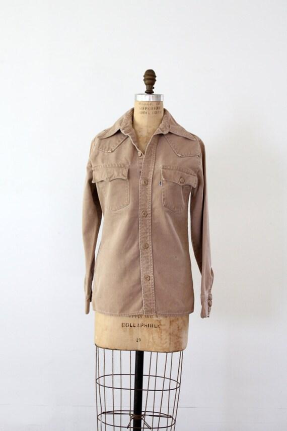 1980s Levis Shirt // Vintage Khaki Button Up