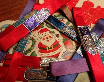 Pretty Papers, Pretty Ribbons of Blue... Vintage Christmas TWINKLE TIES ribbon with original foil labeling, vintage gift wrap, See IDEAS