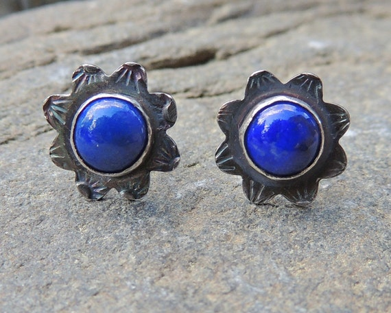 Bright Blue Lapis Stud Earrings in Sterling Silver and Lapis in a flower shape