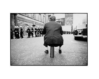 "1974 ""Briefcase Man"" Vintage B/W Silver print"
