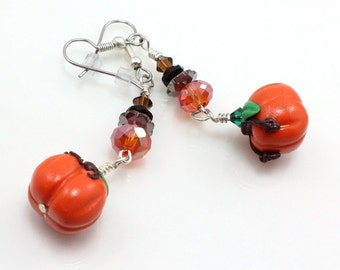 Pumpkin Harvest Earrings, Fall, Thanksgiving, Halloween, Polymer Clay, Swarovski