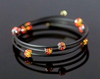 Neoprene Memory Wire Bracelet with Orange Pave Beads