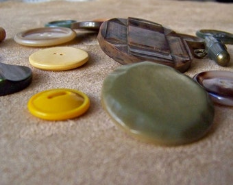 Vintage Button Collection Celluloid Bakelite Autumn Colors Sewing Room Button Collector Vintage 1930s