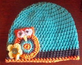 Crochet Owl Beanie in soft Cotton 3-5 T Ready to Ship