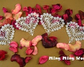Venice Heart Applique Lace Trim - 4 PCS White Lovely Heart Applique Lace (A11)