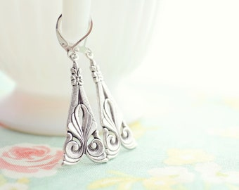 Art Nouveau Earrings - Silver Jewelry, Silver Flower Earrings, Silver Spoon, Floral, Gift for Her
