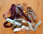 Vintage satin ribbons remnants, double-sided - many meters