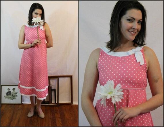 70s bubblegum pink polka dot maxi dress / bonnie jean / sz S/M