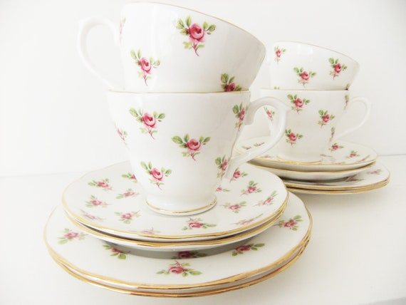 RESERVED FOR F -  China Tea Set - Duchess China, Rosebud pattern - tea cups, saucers, side plates