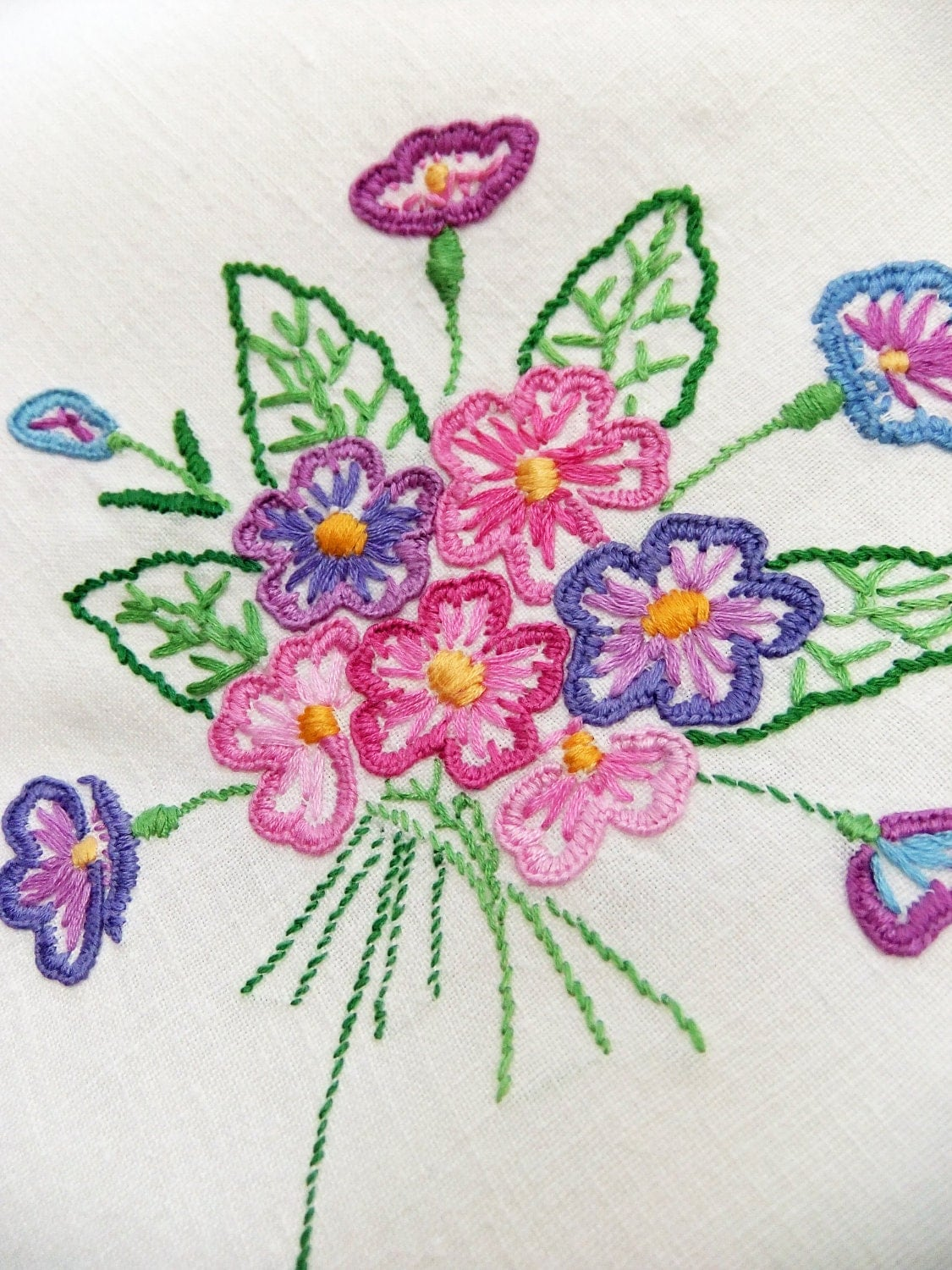 Vintage Embroidered Tablecloth Hand Embroidered Tablecloth