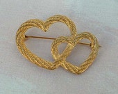 Christian Dior Entwined Hearts Goldtone Silvertone Brooch Pin Sweetheart  Valentine Jewery