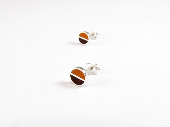 Sterling Silver Earrings, Orange and Chocolate, Divided Circles, Ear Studs, Modern, Contemporary, Minimal