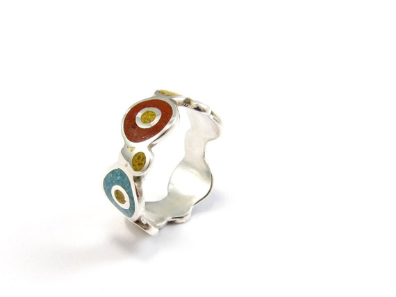 Sterling Silver Ring, Colorful, Bubbles, Red, Mustard, Turquoise, Modern, Contemporary