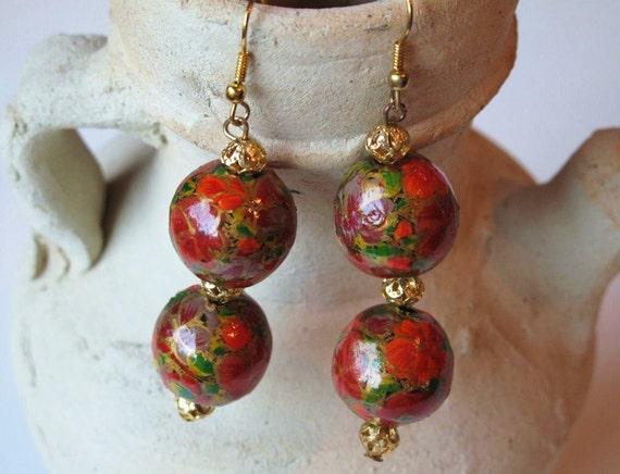 Papier Mache Earrings from Kashmir