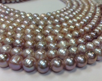 15 inch 10 to 11 mm Large Hole Freshwater Pearl Round Beads - Blush - 2.5 mm hole (G3946B79-BH)