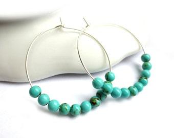 Turquoise Beaded Silver Hoop Earrings