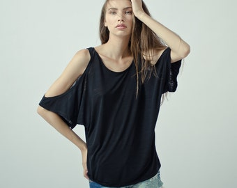 Black cut out shoulder top, oversized open shoulder top shortsleeve, cold shoulder tunic top, slub cotton exposed shoulder top
