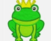 Frog Prince...Embroidery Applique Design...Two sizes for multiple hoops...Item1049...INSTANT DOWNLOAD