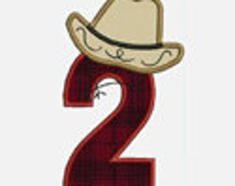 Cowboy Hat Numbers 1-9...Embroidery Applique Design...Two sizes for multiple hoops...Item1107...INSTANT DOWNLOAD.