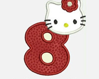 Kitty Numbers 1-9...Embroidery Applique Design...Three sizes for multiple hoops...Item1284...INSTANT DOWNLOAD