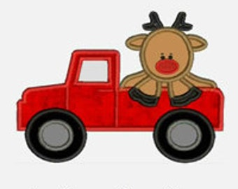 Rudolph Reindeer Truck ...Embroidery Applique Design...Three sizes for multiple hoops...Item1373...INSTANT DOWNLOAD