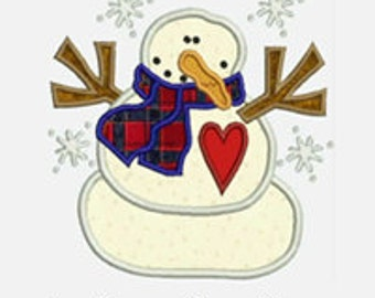 Snowman...Embroidery Applique Design...Three sizes for multiple hoops...Item1024...INSTANT DOWNLOAD