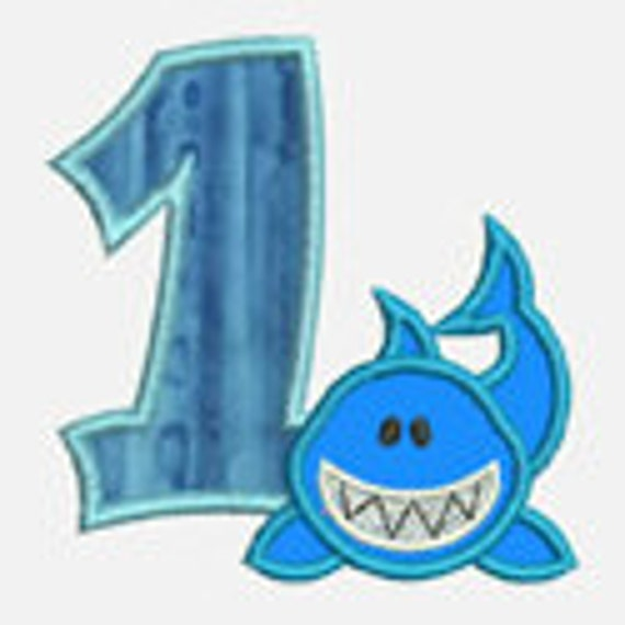 Shark Numbers 0-9 ...Embroidery Applique Design...Two sizes for multiple hoops...Item1530.