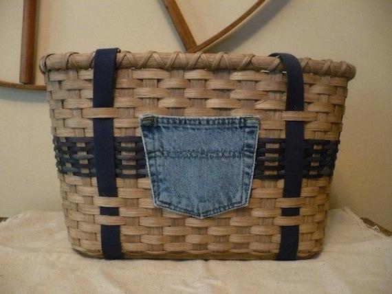 SALE - Tote Basket with Denim Pocket Handwoven