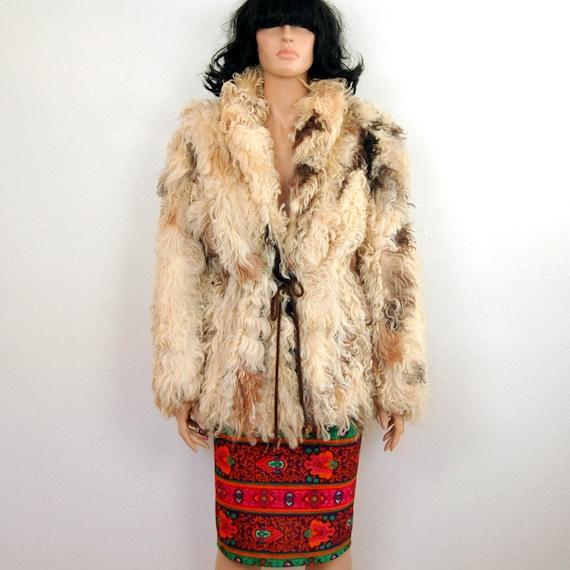 Reserved 4 Donna //// 70's Vintage Alpaca Fur Coat Jacket - Llama S M