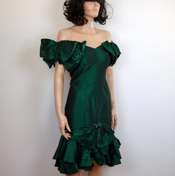 80s Prom Dress Green Tafetta Structural Party Flamenco Dress