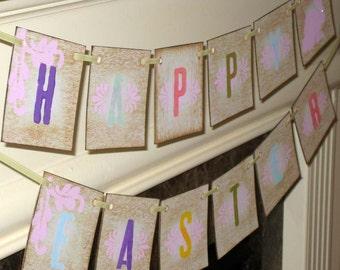 Vintage Happy Easter Garland Banner Sign with Bunny by VintageParisMarket