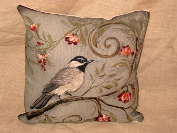 Shabby Chic Fun Throw Pillow with Bird Motif French Market