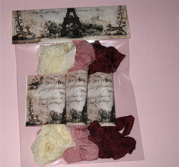 Scrunched Seam Binding ribbon, Crinkled and Dyed Vintage Cream and Wine Seam Binding Packaged ECS