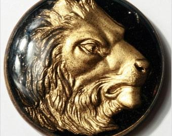 Edwardian 33 mm Antique vintage Bohemian intaglio glass gold paint Lion button cabochon E711-162