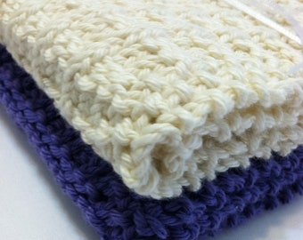Hand Knit Cotton Wash Cloths-French Lavender and Natural Quiltsy Handmade