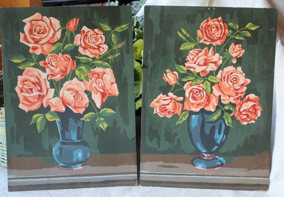 Set of 2 vintage paint by numbers - vase with roses