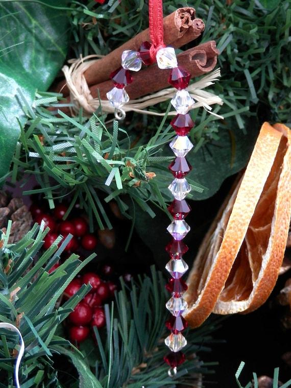 Swarovski Christmas Tree Decoration Set : Swarovski crystal candy cane christmas tree decorations