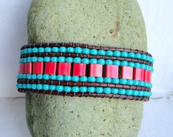 Cuff Bracelet in Red and Turquoise