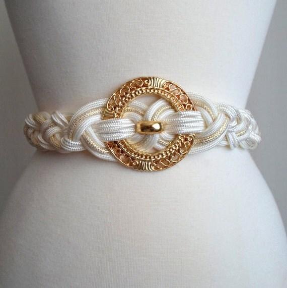 Gold & White Woven Belt