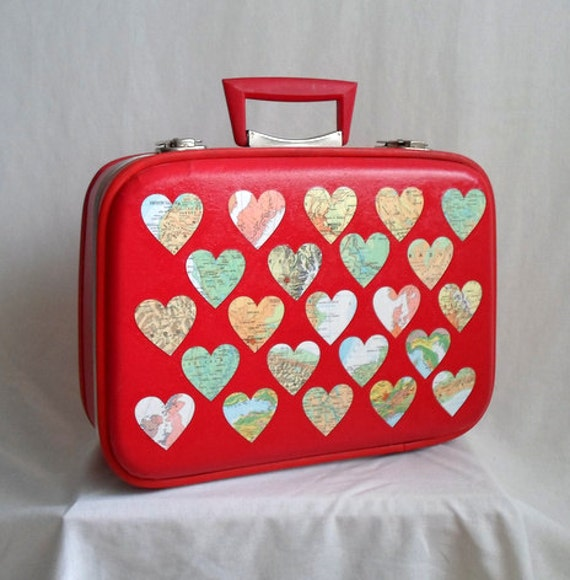 Map Heart Covered Small Red Suitcase