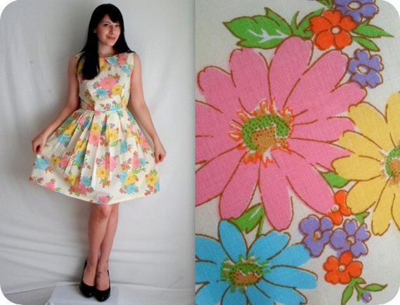 Pink Blue & Yellow Floral Dress