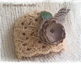 Crochet Pattern - Laced With Love Hat (Newborn to Adult Woman) with Crochet Flower, Lace Antique Beanie Style Hat