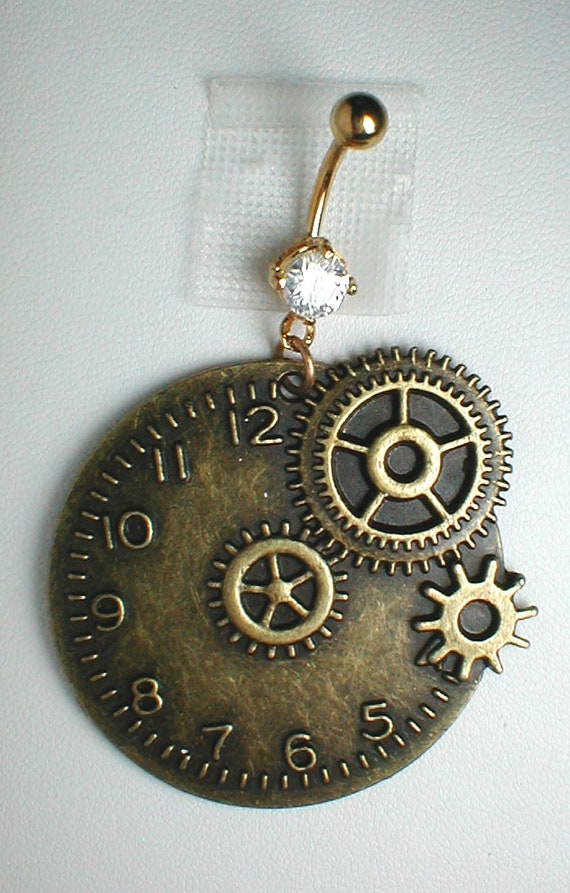 Unique Belly Ring - Steampunk Goth Timepiece Clock
